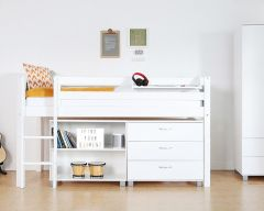 Nordic midsleeper bed with optional bookcase and 3 drw chest