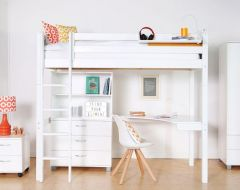 Nordic loft bed with optional corner desk and storage