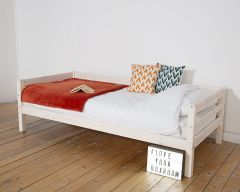 Custom single bed with rear safety rail option